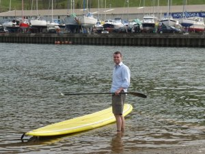 Iain McCarthy's founder of SUPHubNI first time stand up paddleboarding in 2004