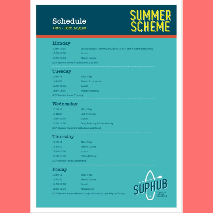 SUP and Beach School Summer Scheme Schedule of Activities