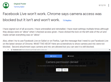 Facebook Live Chrome Issue - Google Support page