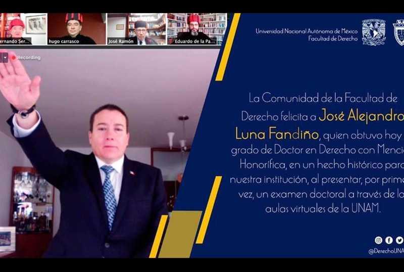 Primer examen doctoral a distancia en la Facultad de Derecho de la UNAM