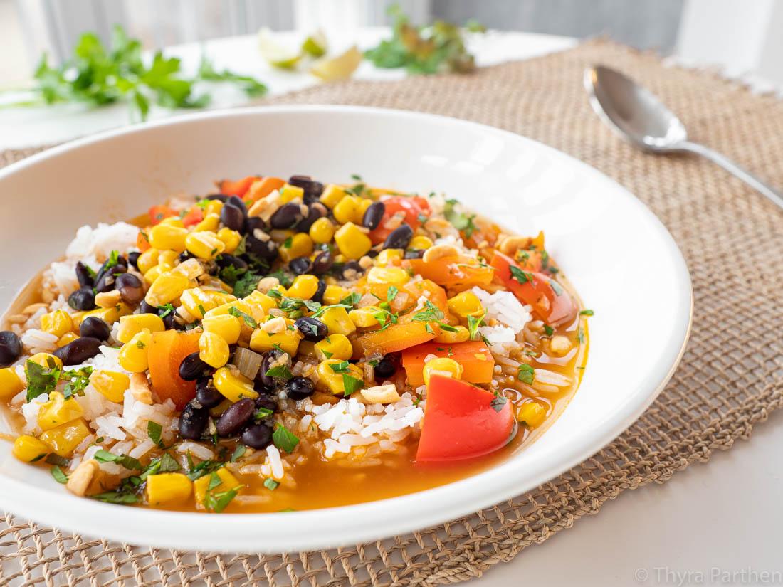 Mais-Bohnen-Topf mit Reis