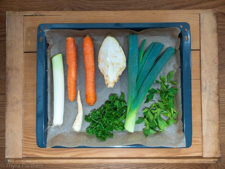 Gemüsebrühe-Pulver - rohe Zutaten