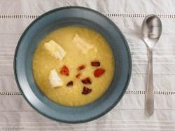 Suppe mit Jaromakohl, Kabeljau und Chorizo