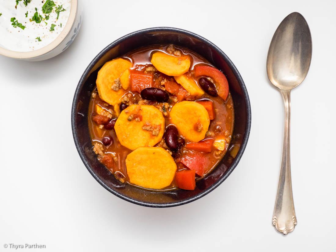 Chili con carne mit Süßkartoffeln