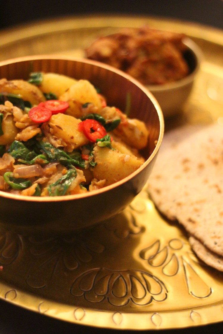 Authentic Saag Aloo perfect for an Indian banquet - find the recipe at Supper in the Suburbs