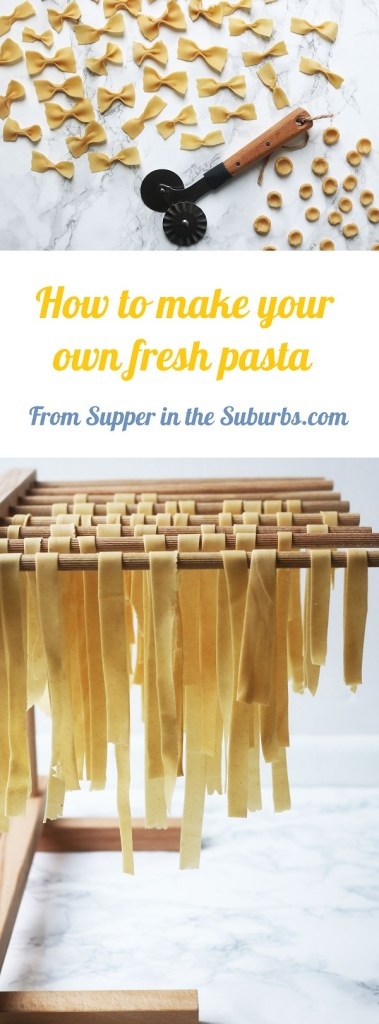 It's so easy to make your own fresh pasta at home. Get the recipe for pasta dough at Supper in the Suburbs!
