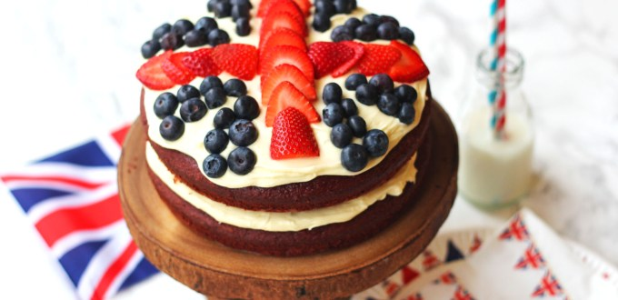 Celebrate in Great British style with this Red Velvet Layer Cake covered in Cream Cheese Frosting and Fresh Berries