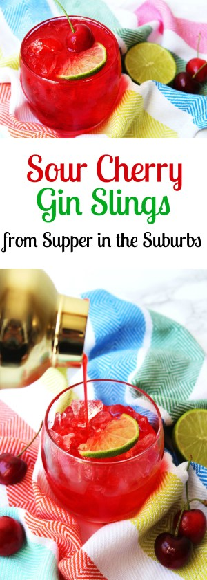 Sour Cherry Gin Slings are a fun and fruity gin cocktail perfect for spring or summer! Get the recipe at Supper in the Suburbs!