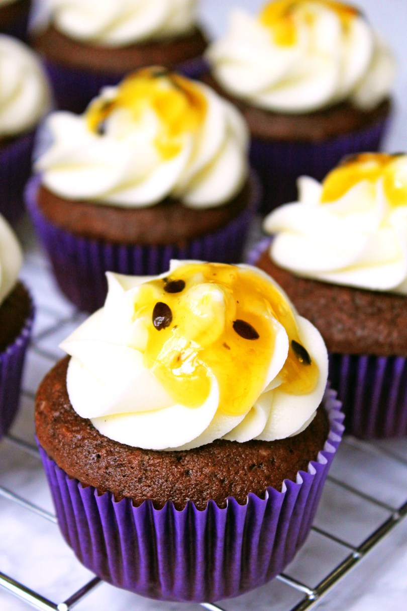 Dark Chocolate and Passion Fruit Cupcakes are a fun and fruity cucpakes are the perfect recipe for a summer garden party or picnic