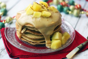 Christmas morning tastes better with Cinnamon and Apples Pancakes with Caramel Sauce from Supper in the Suburbs