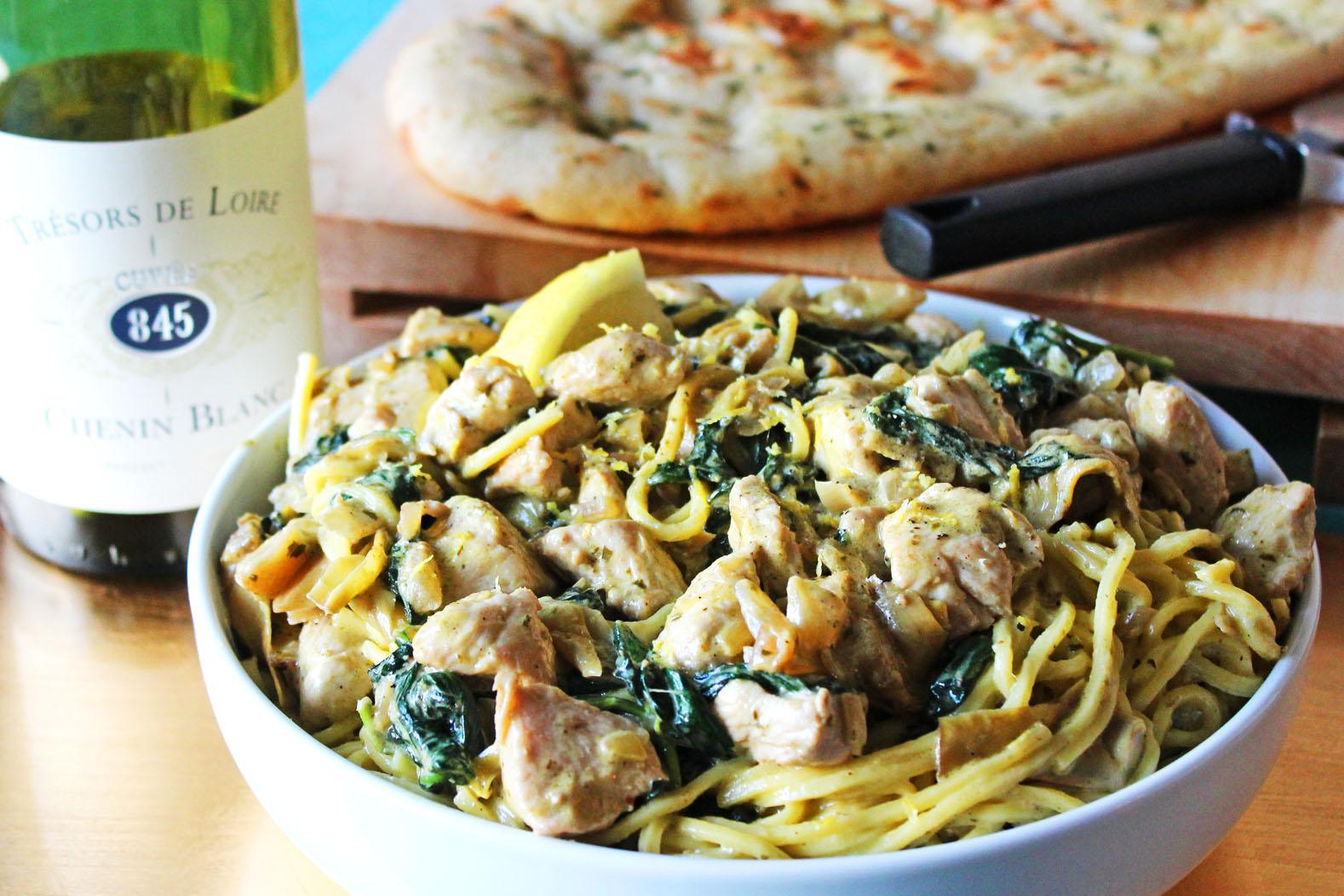 Spaghetti with Creamy Chicken, Spinach and Artichoke Sauce