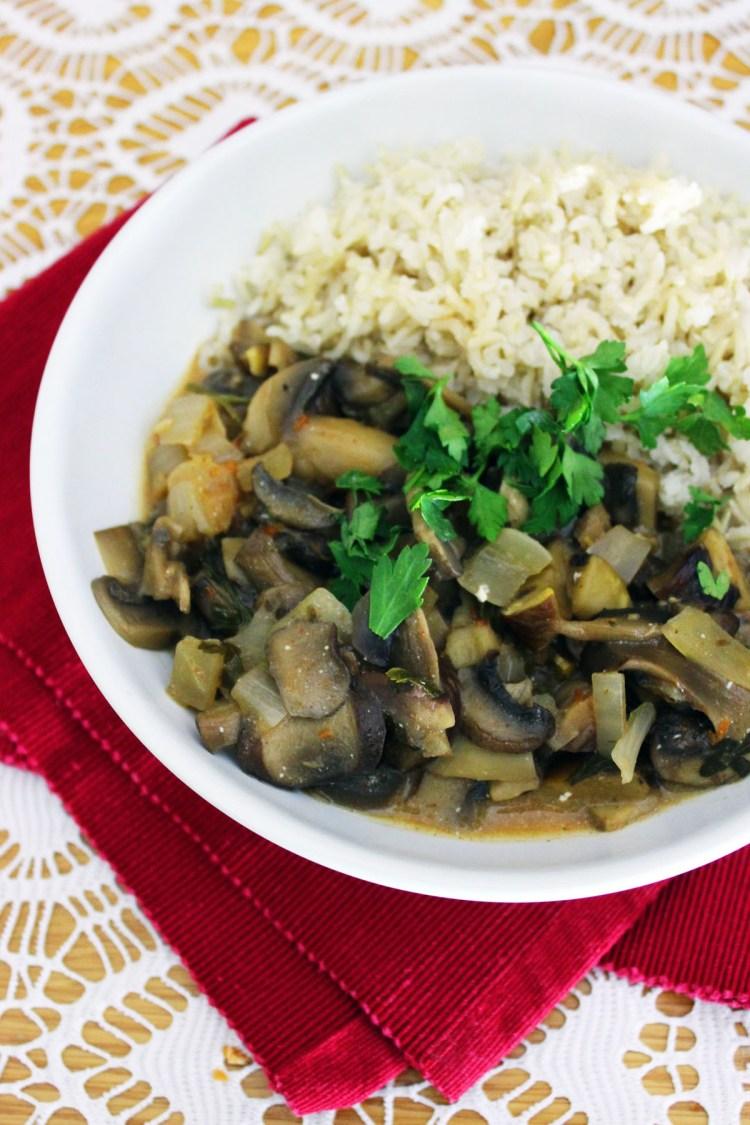 Mushroom Stroganoff served with boiled rice