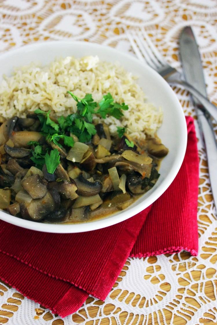 Mushroom Stroganoff with white rice