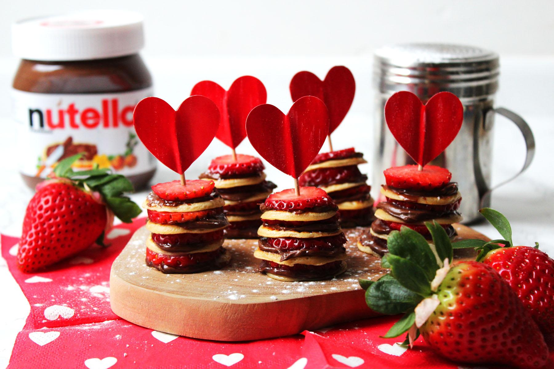 Mini Nutella and Strawberry Pancake Stacks