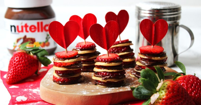 Mini Nutella and Strawberry Pancake Stacks