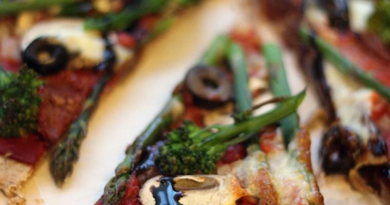 Broccoli and Asparagus Pizza with Balsamic Glaze