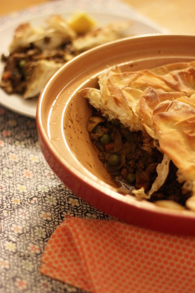 Delicious Samosa Pie made with filo pastry