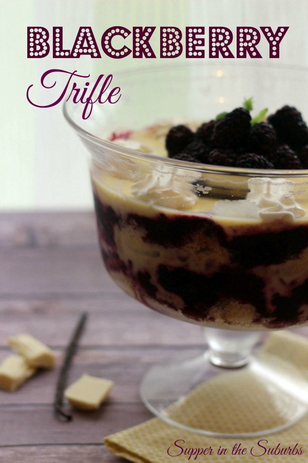 Double layered blackberry trifle from Supper in the Suburbs