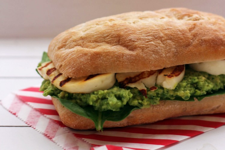 Halloumi Sandwich with fresh Avocado, Pea and Mint Pesto from Supper in the Suburbs