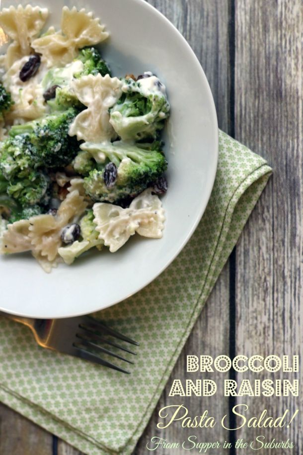 Broccoli and Raisin Pasta Salad from Supper in the Suburbs Food Blog