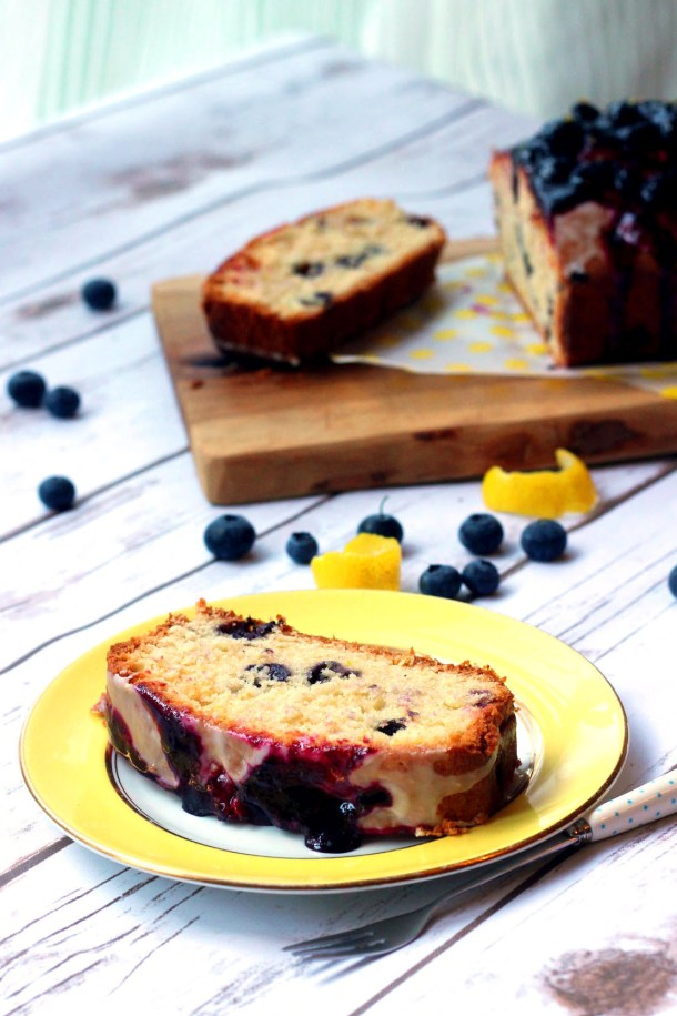 A slice of zesty Lemon and Blueberry Madeira Cake from Supper in the Suburbs