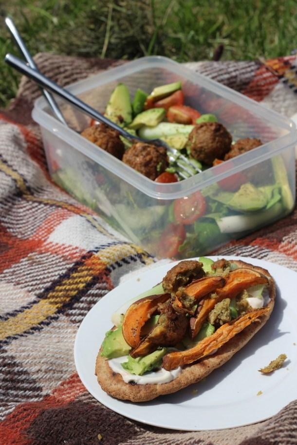 Avocado and Sweet Potato Pittas with Salad