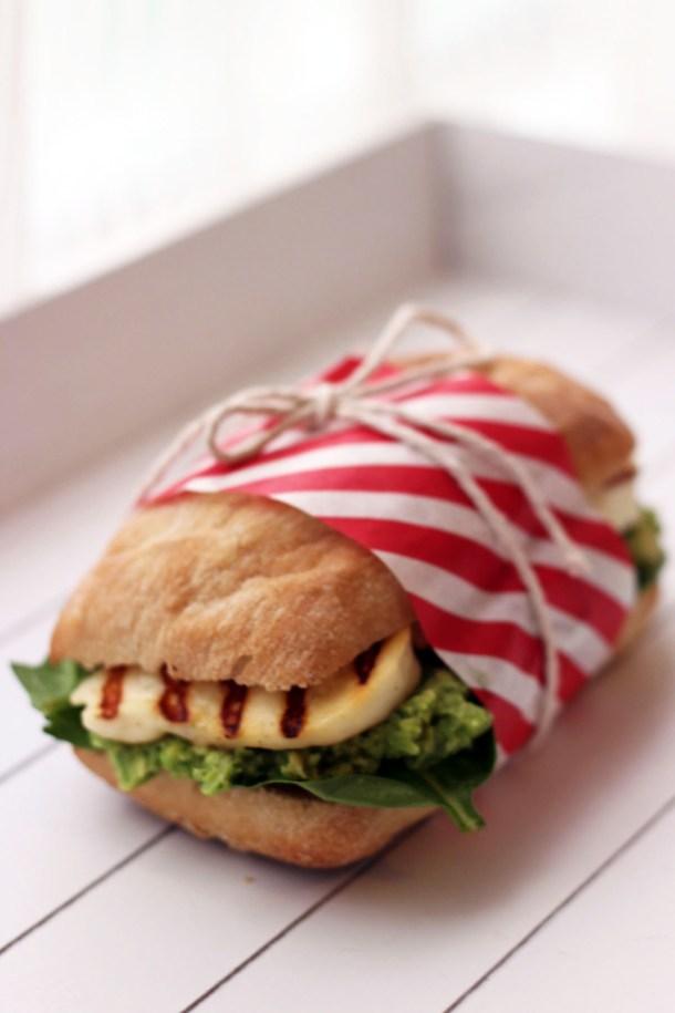 Halloumi Sandwich with Pea, Avocado and Mint Pesto