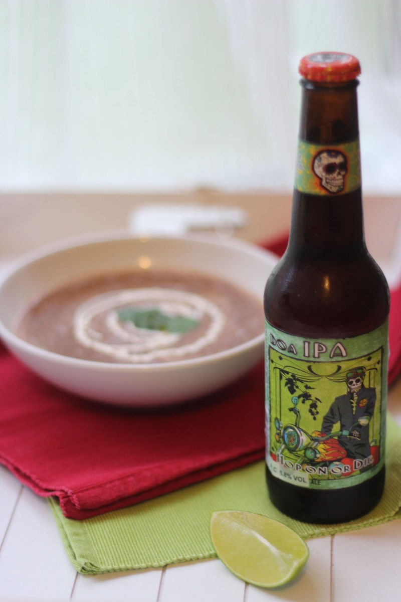 Mexican IPA with spicy black bean soup from Supper in the Suburbs