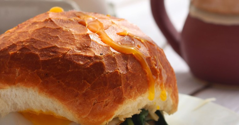 Duck Egg Sandwich with Gruyère and Wilted Spinach