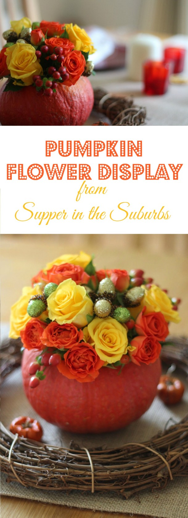 Pumpkin Flower Display Pin from Supper in the Suburbs