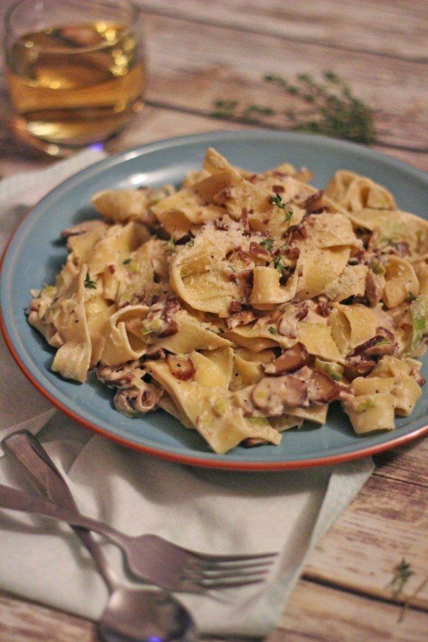 Seasonal Leek, Mushroom and Chestnut Parpadelle from Supper in the Suburbs, part of the #PastaPlease Challenge