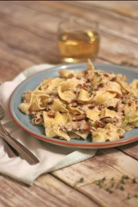 Seasonal Mushroom, Leek and Chestnut Parpadelle from Supper in the Suburbs