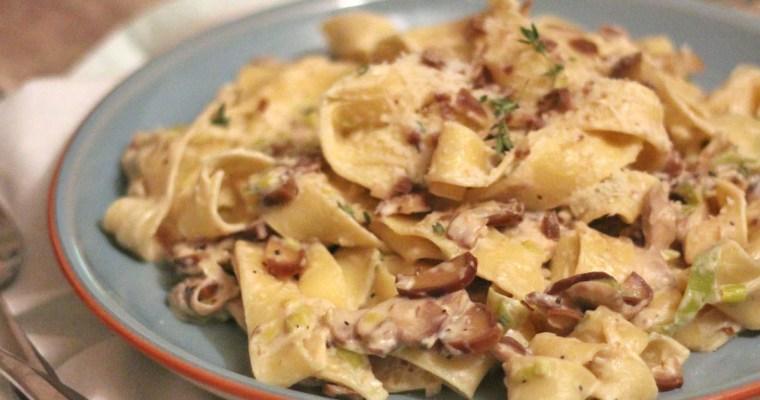 Mushroom, Leek and Chestnut Parpadelle – #PastaPlease