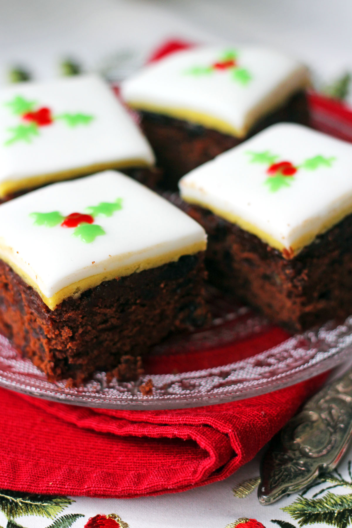 Chocolate and Orange Fruitcake Squares are a great alternatiev to slices of traditional Christmas Cake Find the recipe at Supper in the Suburbs