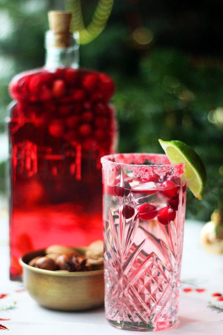 Cranberry Infused Gin is used to make this Festive Cranberry Gin and Tonic from Supper in the Suburbs