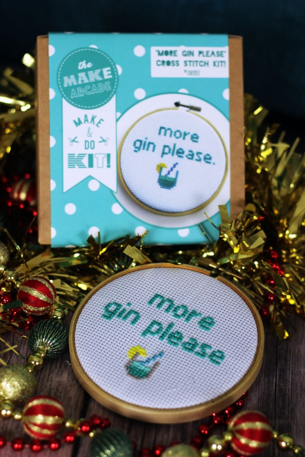 This gin themed cross stitch kit is a great gift for crafty gin lovers you can find more gintastic gifts at Supper in the Suburbs