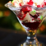 Cranberry Eton Mess made with Christmas Elf Meringue Kisses a fun Christmas dessert that can be served as an alternative to Christmas pudding