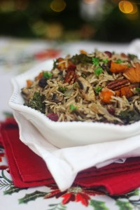 This Winter Wild Rice Pilaf is made with butternut squash kale cranberries and pecan find the recipe at Supper in the Suburbs
