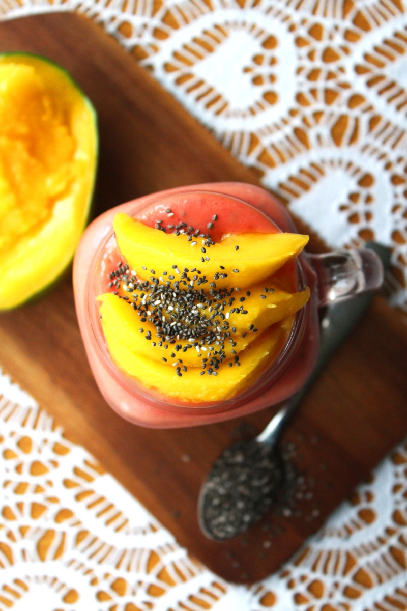 I love this Raspberry and Mango Smoothie with Chia Seeds it tastes fantastic and is filling too find the recipe at Supper in the Suburbs