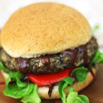 This BBQ Portobello Mushroom and Black Bean Burger has real bite you'd never know its 100 per cent meat free Find the recipe at Supper in the Suburbs