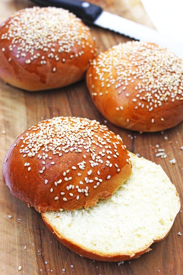 Learn how to make fresh sesame seed topped brioche buns at home. They are perfect for your next burger night or BBQ!