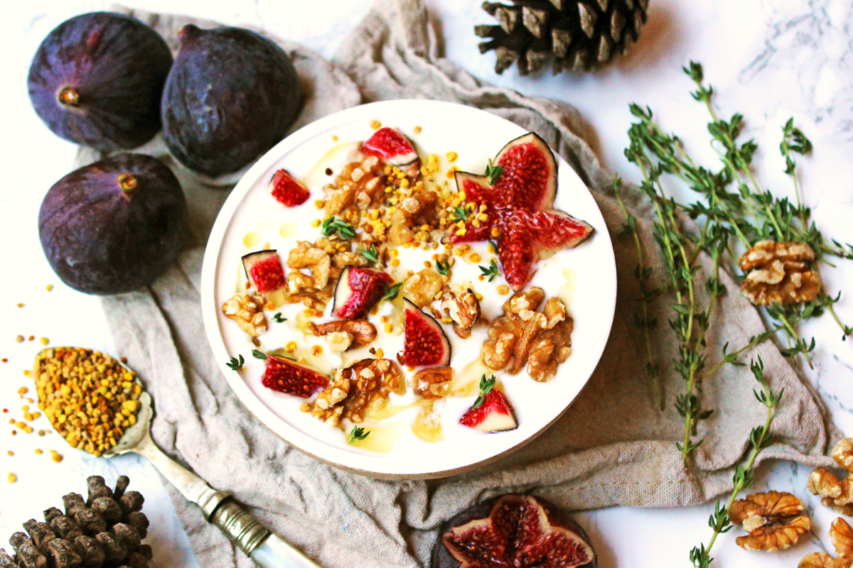 Fig and Walnut Yogurt with honey and thyme