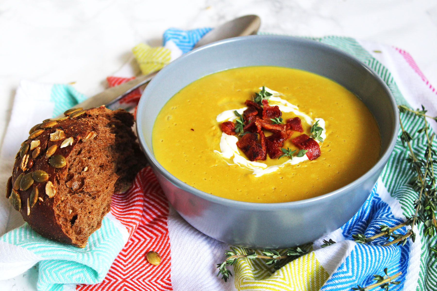 Chestnut and Parsnip Soup with Crispy Bacon Bits