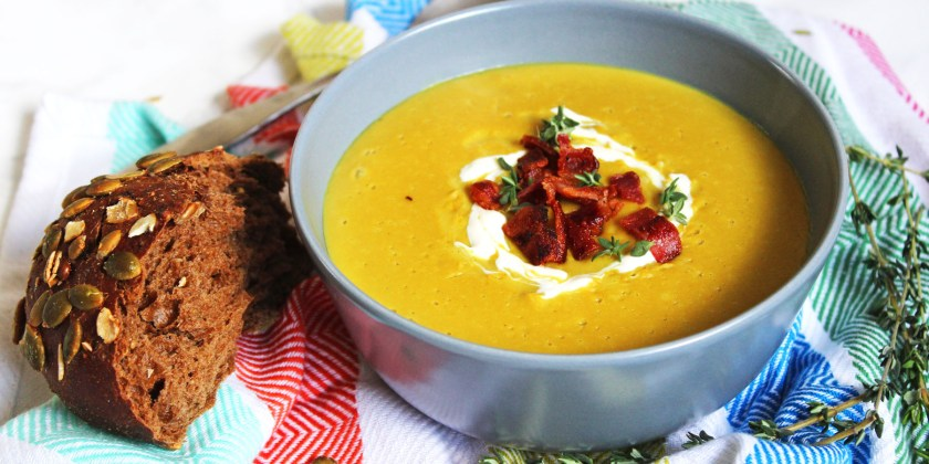 Chestnut and Parsnip Soup with Crispy Bacon bits. A tasty seasonal soup that can be made from scratch in a Vitamix blender! Why not make it for Christmas or Thanksgiving dinner this year? Get the recipe on Supper in the Suburbs