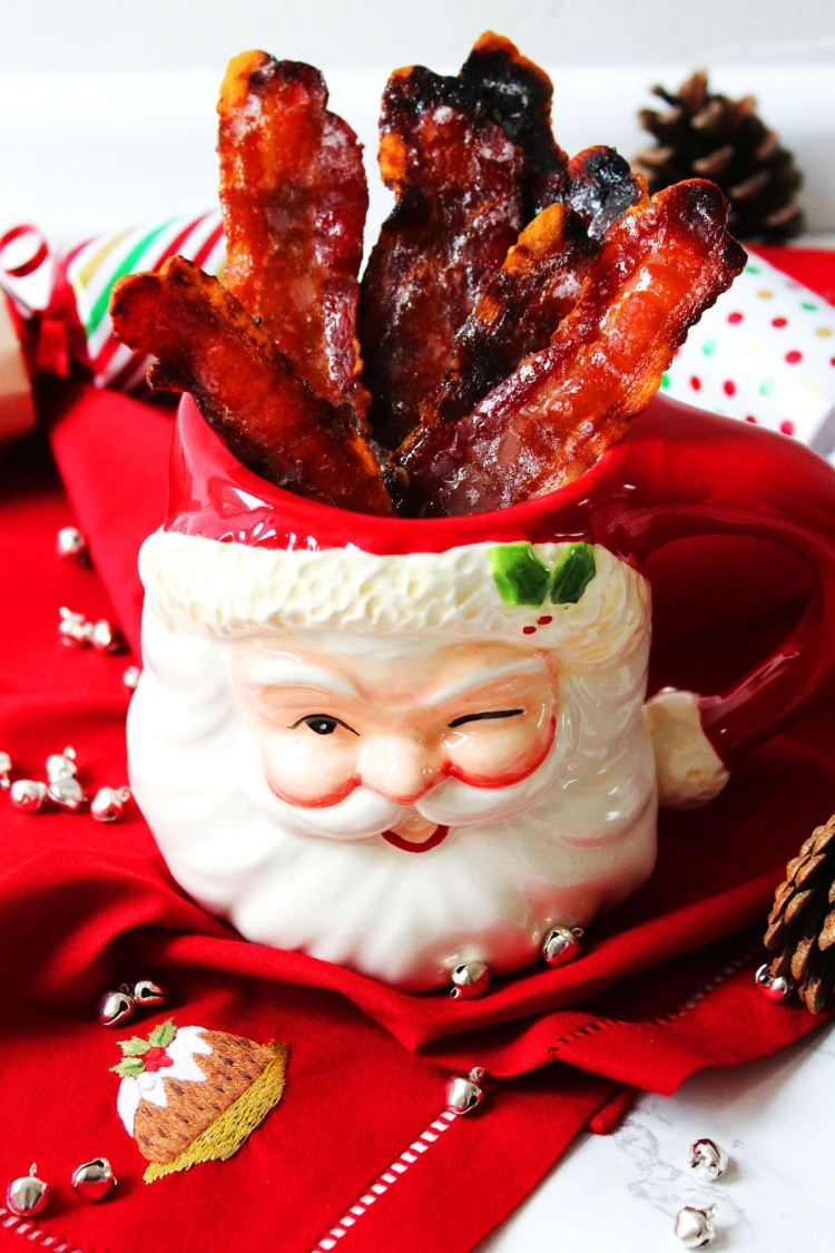 Cinnamon Candied Bacon is the perfect festive appetizer. Serve with cocktails and other canapes at your Christmas party. Get the recipe at Supper in the Suburbs!