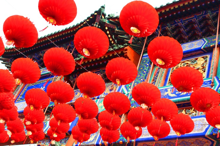 Red lanterns are hung everywhere during Chinese New Year celebrations.