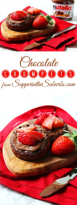 These Chocolate Crumpets are a fun twist on a classic brunch recipe! Smothered with Nutella they are a chocoholics dream breakfast or snack!