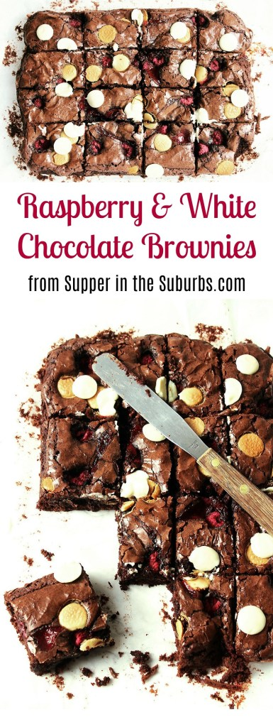 Raspberry and White Chocolate Brownies are the perfect balance of bittersweet. Get the recipe at Supper in the Suburbs for your next chocolate craving.