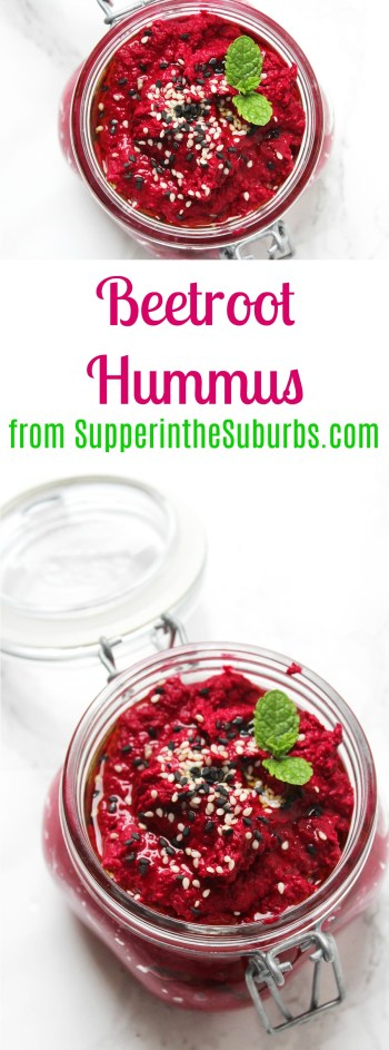 This Beetroot Hummus is packed full of flavour and nutrients! It's great with crudite, pita bread or with falafel! Get the recipe at Supper in the Suburbs!