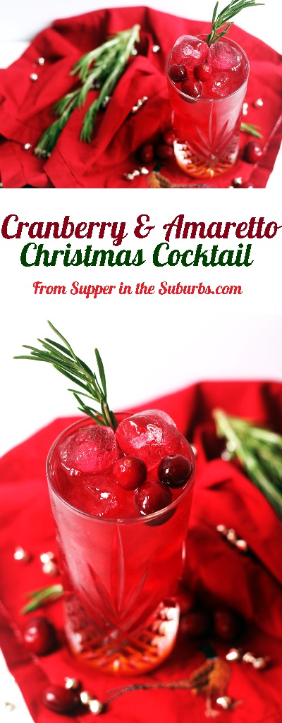 Cranberry and Amaretto is the perfect Christmas Cocktail. Why not serve this alcohol drink at your next party over the festive period! Get the recipe at Supper in the Suburbs!